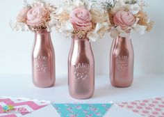 Copper Painted Milk Bottles Baby Shower Decor by BeachBluesBaby