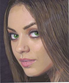 my drawing of mila kunis  ... colored pencil, ink, and watercolor on smooth bristol
