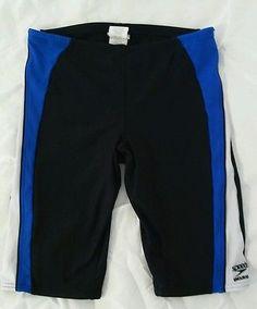 Speedo Endurance Black Blue White Race Swim Shorts Jammers Competition 32