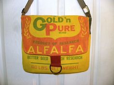 Vintage Gold'n Pure Alfalfa Seed sack ReCreated by LoriesBags