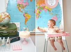 First Birthday World Globe Traveler Theme from Paging Supermom. So clever and cute! I like the idea, and think it would be fun to use as a graduation from high school party theme...will revisit this in 13 years...