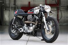 Ironhead sporster café racer with quilted seat