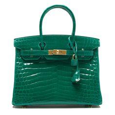 Hermes Birkin Bag 30cm Emerald (Vert Emerude) Shiny Nilo Crocodile Gold Hardware