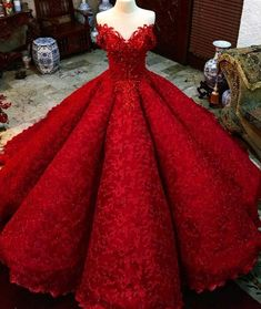 Gown Red Prom Dress With Beads Off The Shoulder Floor-Length Lace Quinceanera Dress Sweet 16 Dresses For Girls Ball Gown Red Prom Dress With Beads Off Puffy Prom Dresses, Red Quinceanera Dresses, Quince Dresses, Red Wedding Dresses, Girls Dresses, Chiffon Dresses, Long Dresses, Formal Dresses, Red Ball Gowns