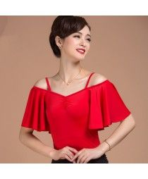 Red colored short cap  sleeves  dew shoulder women's ladies female v neck sexy…