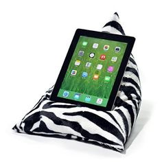 iPad Tablet Cushion - ZEBRA FAUX FUR - beanbag stand lap pillow holder suitable for all tablets and ebook readers eBean original Sewing Tips, Sewing Hacks, Sewing Projects, Ipad Holder, Tablet Holder, Bean Bag Pillow, Book Stands, Ipad Stand, Ipad Tablet