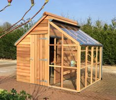 The Grow and Store combination shed and greenhouse,  from the Potting Shed range by Gabriel Ash. As seen at the Malvern Garden Buildings show site in Greater London (based at Squires Garden Centre in Shepperton, TW17) Tel: 01932 783999
