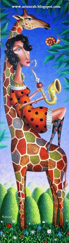 "Zurab Martiashvili ~ ""Jazz for the giraffe"" , snail, trumpet - Pinterest"