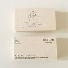 A minimalist business card design by Yu Fan Ye (who also known as 'Fan') for This Café, a coffee shop located in Hsinchu, Taiwan. design This Cafe Business Card Business Card Design Inspiration, Business Design, Café Branding, Restaurant Branding, Coffee Shop Branding, Corporate Branding, Logos Photography, Minimalist Business Cards, Creative Business Cards