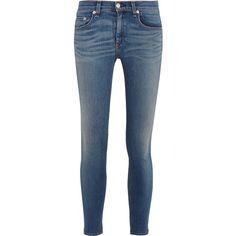 Rag & bone The Capri mid-rise skinny jeans featuring polyvore, women's fashion, clothing, jeans, pants, bottoms, pantalones, calças, mid denim, blue skinny jeans, mid rise skinny jeans, frayed skinny jeans, blue capris and skinny capris