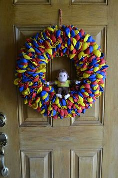 Curious George Balloon Wreath