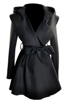 ROMWE | ROMWE Pleated Hooded Belted Long Sleeves Black Coat, The Latest Street Fashion  <3 this