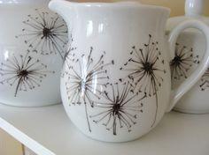 Hand painted dandelion creamer