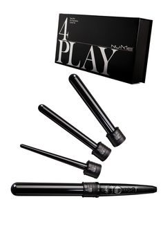 The 4Play Curling Wand Set includes four interchangeable barrels in a ...