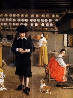 A kitchen scene, Wolfgang Hembach, oil on canvas, possibly painted in Rome. Food Art Painting, Artist Painting, Dutch Kitchen, Dutch Netherlands, Holy Roman Empire, Dutch Golden Age, Medieval Life, Renaissance Paintings, Museum