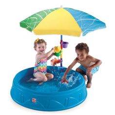 Step2 Play and Shade Kiddie Pool - hard plastic pool with molded seats and shade umbrella