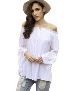 SheIn Women's Off Shoulder Bell Sleeve Pleated Blouse Top Small White at Amazon Women's Clothing store: