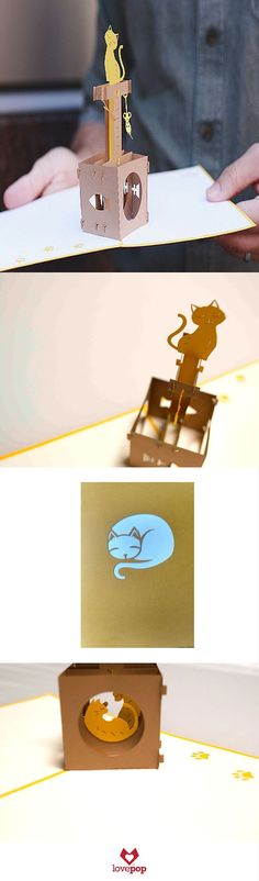 Gift your favorite cat lover a pop up card full of adorable paper art kitty cats.