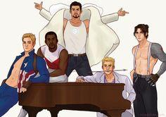 Steve Rogers, Sam Wilson, Tony Stark, Clint Barton, and Bucky Barnes are part of Earth's mightiest boyband.