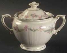"""Syracuse Millicent Sugar w/Lid, 3¼"""". $41.99 at Replacements.com on ebay, 6/2/16"""