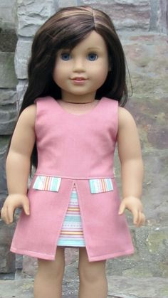 American Girl Doll Dress Trendy Inspired By Zooey by AvannaGirl. Made with the Inspired By Zooey Dress pattern, found here http://www.pixiefaire.com/products/inspired-by-zooey-dress-18-doll-clothes. #pixiefaire #inspiredbyzooey