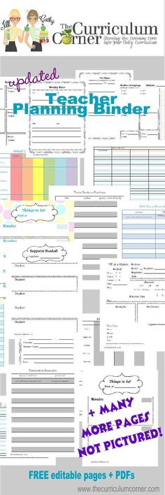 Free Updated Teacher Planning Binder from The Curriculum Corner editable Word files + PDFs