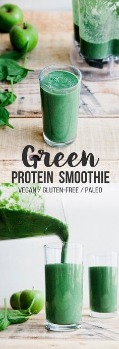Protein Smoothie (Vegan + Paleo) One of the healthiest, yet most delicious, green smoothies I've tried!One of the healthiest, yet most delicious, green smoothies I've tried! Smoothie Bowl Vegan, Smoothies Vegan, Smoothie Proteine, Green Smoothie Recipes, Breakfast Smoothies, Fruit Smoothies, Vegan Breakfast Protein, Smoothie Cleanse, Super Green Smoothie