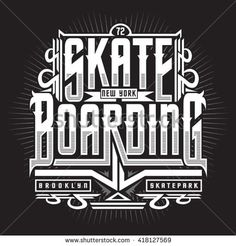 Skate boarding typography, t-shirt graphics, vectors, sport,