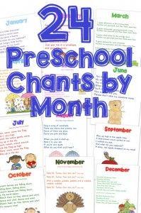 24 Preschool Chants by Month {free printable} from Wildflower Ramblings