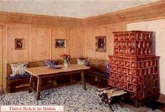 One of the cozy guest rooms in the Berghof, complete with Bavarian tile Kachelofen. These rooms were occupied by Hitler's secretaries and a few close guests, mainly Eva's friends