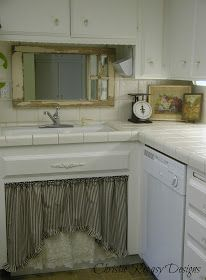 Chateau De Fleurs: My Little Country Kitchen:  salvaged window, old scale, and sink skirt.