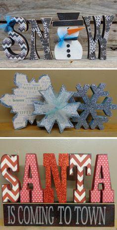 Christmas Decorations | Winter Holiday Decor | Snow Decor | Santa Decor By HillBilly & Me {Etsy} #affiliatelink