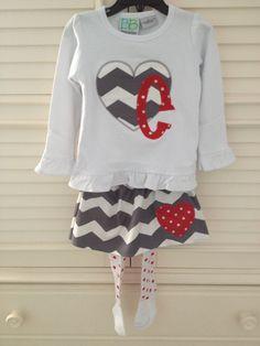 Appliquéd Valentine Shirt & Skirt