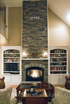 None can tell it's FAUX Stone. Fireplace With Faux Stone traditional family room.