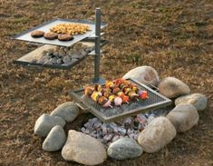 "Revolutionize the way you cook with these swivel cooking systems. Simply hammer the stake into the ground, place the griddle, grill and charcoal box onto the stake, and swivel it away from the heat when your food is finished cooking. Use it over wood, charcoal or propane. Set includes a griddle, grill, charcoal box, steel stake and sturdy carry case. Durable steel construction.  Available:  Full Size – 18"" x 20"".  Set weight : 36 lbs."