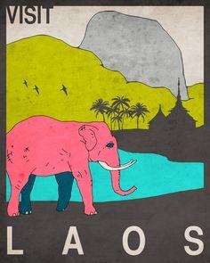 Visit Laos Art Print