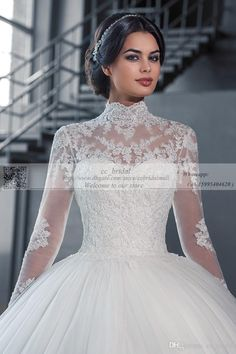 Elegant Long Sleeves High Neck Lace Wedding Dresses Discount With Sweep Train Ball Gown Plus Size Cheap Princess Arabic Bridal Wedding Gowns