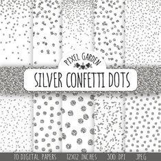 Instand download silver glitter confetti digital paper pack. This metallic sparkle paper will be perfect for Christmas or any other festive
