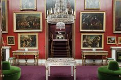 The Picture Gallery at Attingham Park, Shropshire, with a view through the doors to the Staircase. The Picture Gallery was designed by John Nash in 1805.