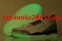 sale retailer 3d8d6 593bc Original Glow In The Dark Jordan 3 Light Up White Cement Grey
