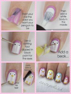 Adorable penguin nails by cutepolish