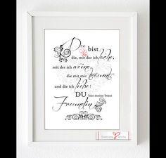 """Wanddeko - Kunstdruck """"Du bist meine beste Freundin"""" - ein Designerstück von Soulmate-Works bei DaWanda"""