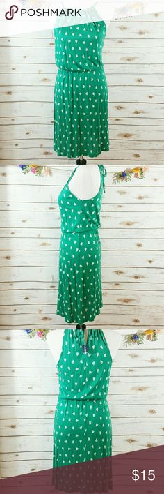 "Old Navy green sailboat dress This cute dress is green with white sailboats. It ties at the back of the neck. The elastic waistband is approx 13"", length is approx 27"", bust is approx 34"". All measurements taken unstretched. 100% rayon Old Navy Dresses Midi"