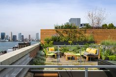 The interior space is topped bya lush roof deck overlooking the Hudson River and lower Manhattan.  Courtesy of: Albert Vecerka / Esto