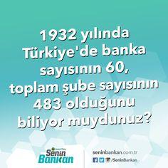 1932 yılında Türkiye'de banka sayısının 60, toplam şube sayısının 483 olduğunu biliyor muydunuz?