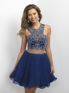 This short and sassy two-piece dress is the perfect outfit to make a statement in! Available in Navy and it's at Rsvp Prom and Pageant, your source for the Hottest Homecoming, Prom, and Pageant Dresse