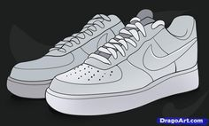 how to draw nike, how to draw air force ones