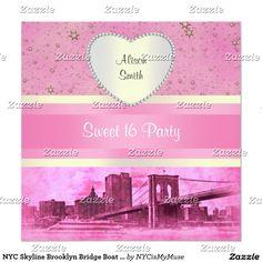 NYC Skyline Brooklyn Bridge Boat 5H Sweet 16