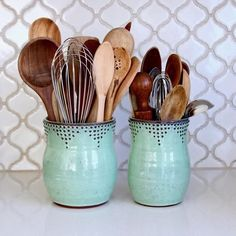 Utensil Holder Medium Size Aqua Mist Hand Thrown V Kitchen Utensil Holder, Kitchen Utensils, Beautiful Kitchens, Cool Kitchens, Ceramica Artistica Ideas, Types Of Carpet, The Potter's Wheel, Dots Design, Stoneware Clay