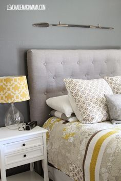 Make a DIY tufted headboard...the easy (cheater's) way! {Lemonade Makin' Mama}
